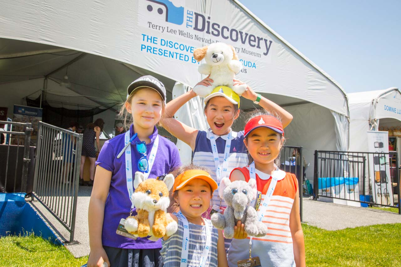 Children in front of Discovery tent
