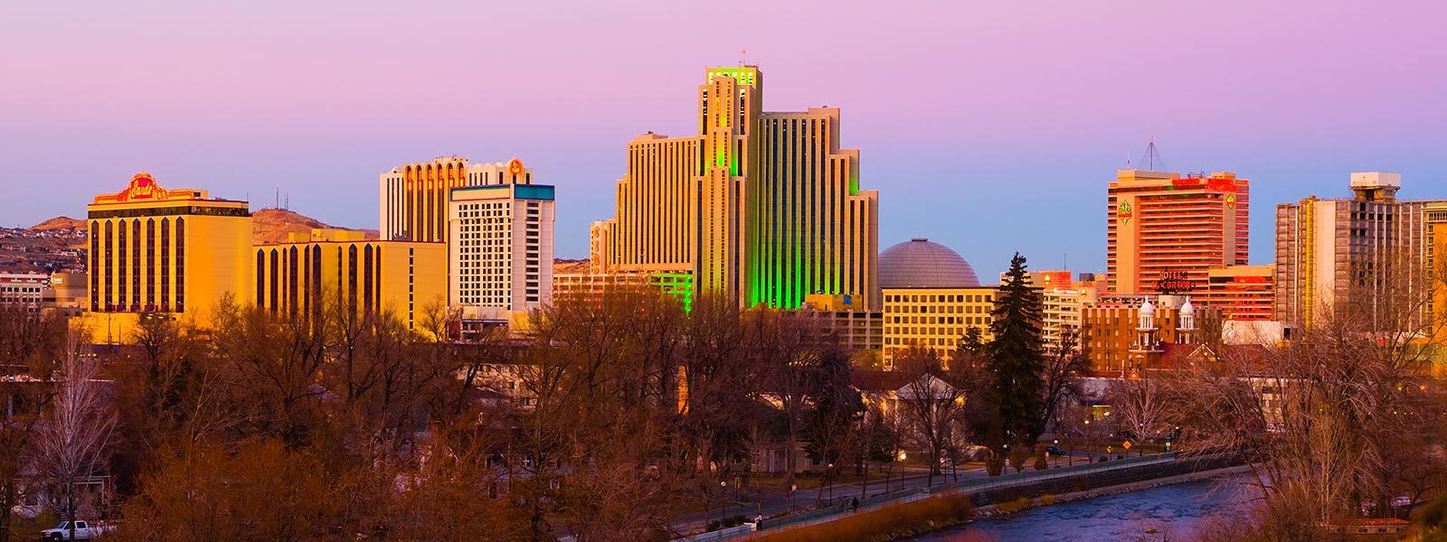 Reno, Nevada skyline at sunset